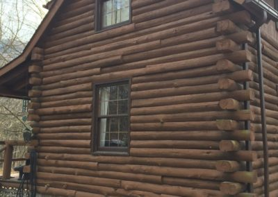 Log home before restoration begins